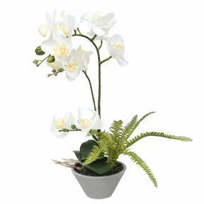 Mesterséges fehér orchidea páfránnyal 43 cm