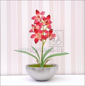 Mesterséges növény Orchidea Cymbidium bordó vörös 50 cm