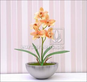 Mesterséges növény Orchidea Cymbidium narancs 50 cm