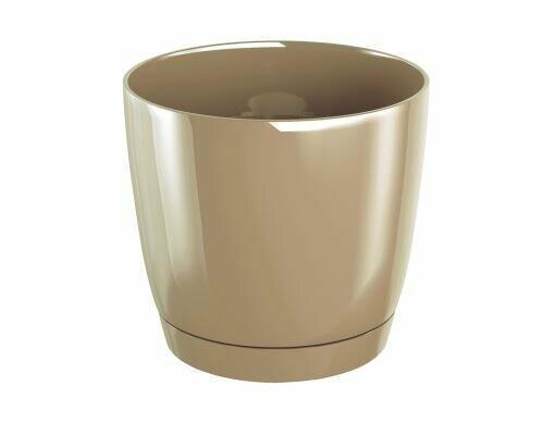 Virágcserép COUBI ROUND P egy tál kávéval, tejjel 21cm