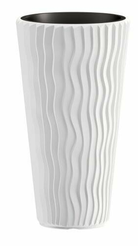 Virágcserép SANDY SLIM + betét fehér, 39 cm